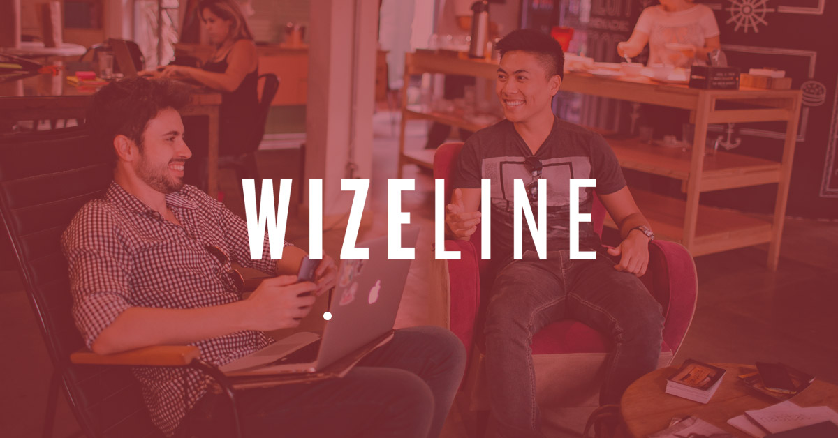 Wizeline logo on a background of Wizeline offices in Guadalajara Mexico